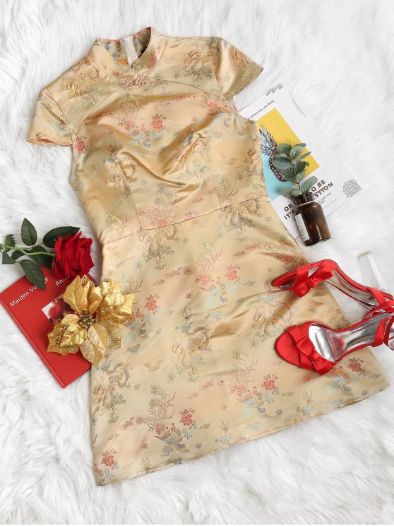 ladies ZAFUL Oriental Jacquard Mini Cheongsam Dress - GOLD XL