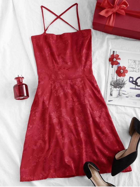 trendy ZAFUL Oriental Cami Floral Jacquard Criss Cross Mini Dress - RED L