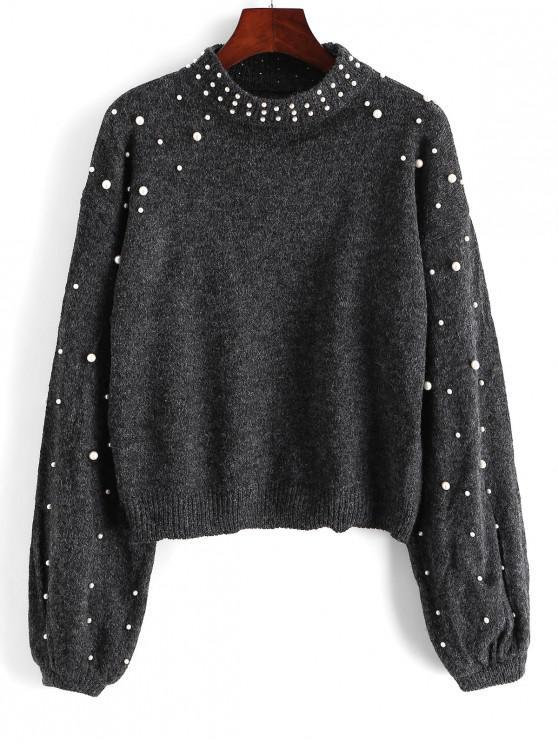 trendy Mock Neck Faux Pearls Lantern Sleeve Jumper Sweater - GRAY S