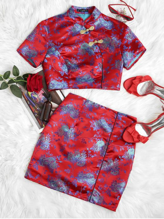 new ZAFUL Chinese Knot Button Floral Jacquard Oriental Two Piece Dress - RED L