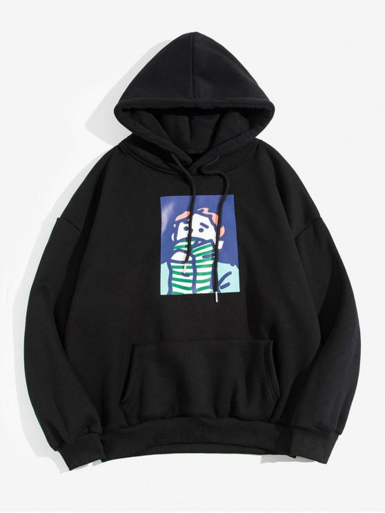 chic Cartoon Character Printed Pocket Hoodie - BLACK M