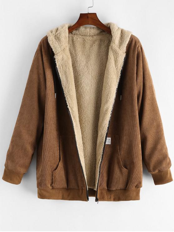 sale Solid Color Zipper Pocket Fluffy Jacket - CHESTNUT 2XL