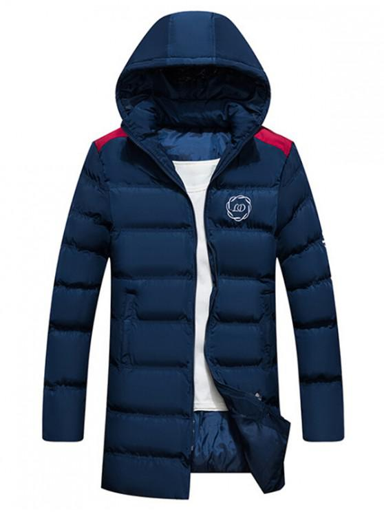 hot Graphic Pattern Zipper Hooded Quilted Coat - CADETBLUE M