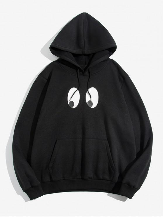 chic ZAFUL Cartoon Eyes Print Pocket Hoodie - BLACK S