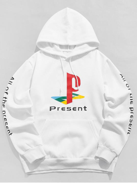 latest ZAFUL Present Letter Graphic Print Drawstring Hoodie - WHITE S