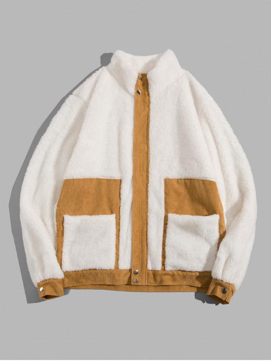 women's ZAFUL Color Blocking Fluffy Casual Jacket - CRYSTAL CREAM XL