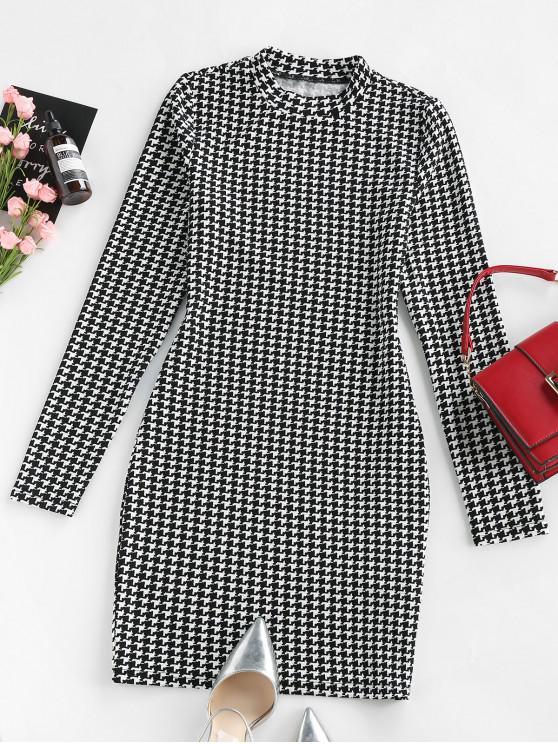 fashion ZAFUL Plaid Houndstooth Bodycon Mini Dress - MULTI-B M
