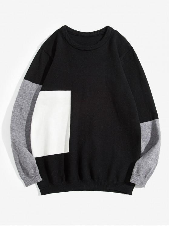 outfit Color Blocking Round Neck Casual Sweater - BLACK S