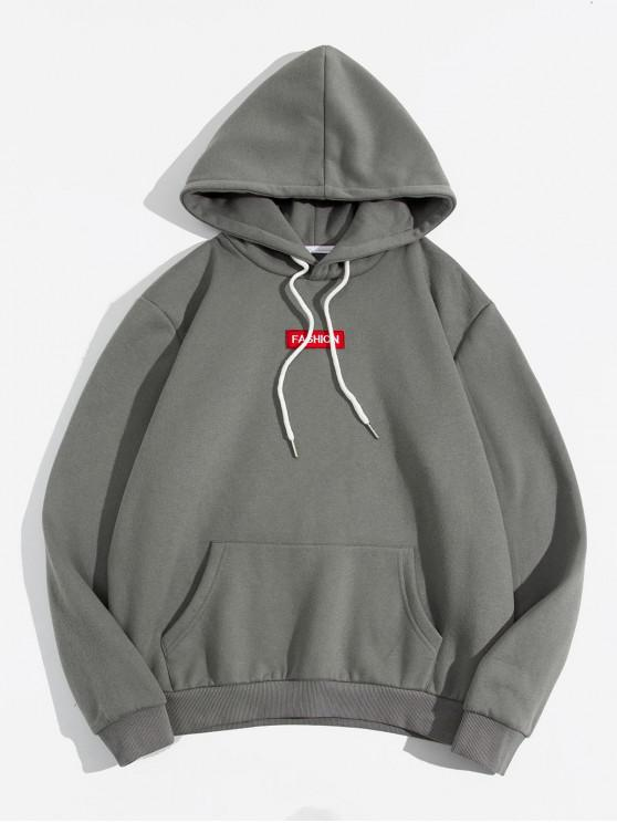 shops ZAFUL Letter Embroidery Solid Drawstring Fleece Hoodie - GRAY XL