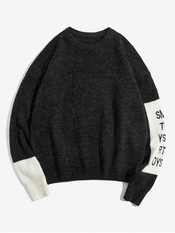 chic Letter Pattern Colorblock Round Neck Sweater - BLACK 2XL