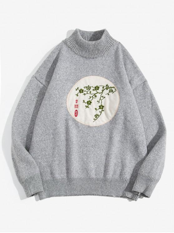 buy Floral Plant Embroidery Mock Neck Sweater - LIGHT GRAY 2XL