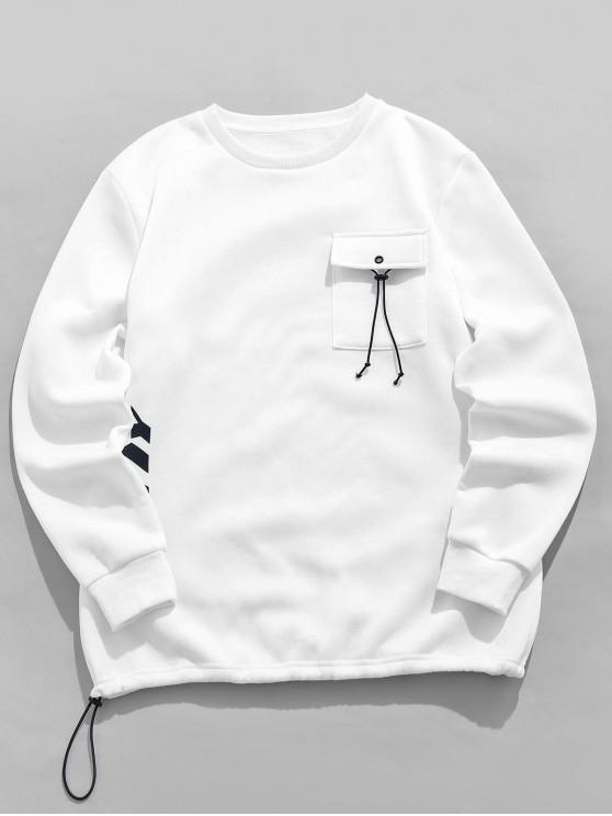 latest ZAFUL Letter Printed Pocket Design Casual Sweatshirt - WHITE S