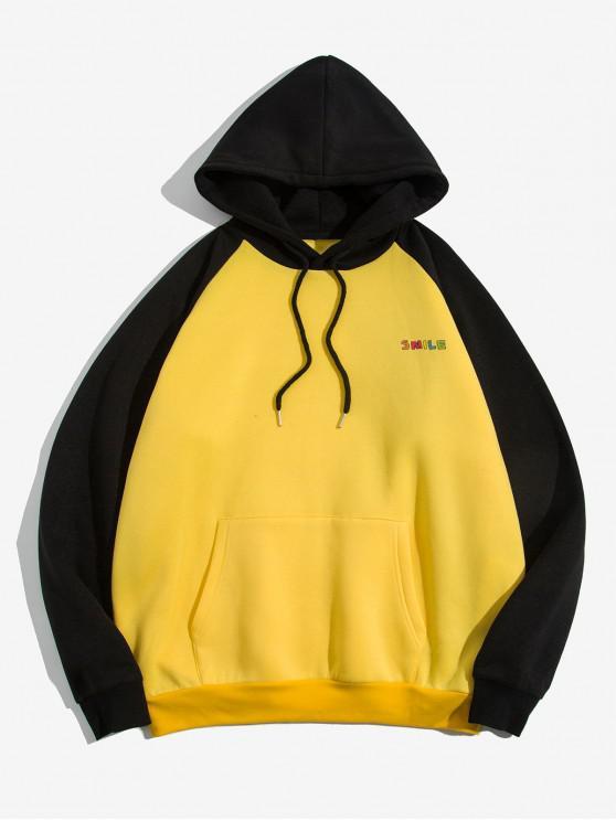 ZAFULグラフィックColorblockプリントポケットパーカー - 明るい黄色 XL