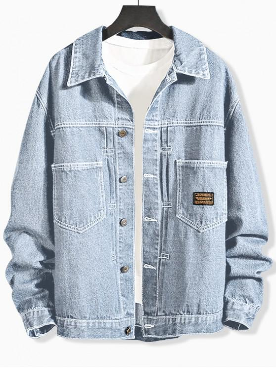 unique Letter Pattern Pocket Decorated Denim Jacket - JEANS BLUE 2XL