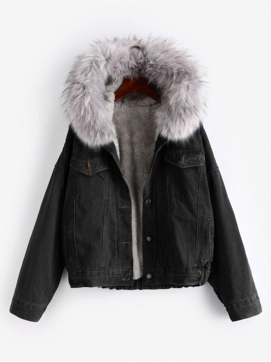 sale Button Up Fluffy Hooded Denim Jacket - BLACK XL