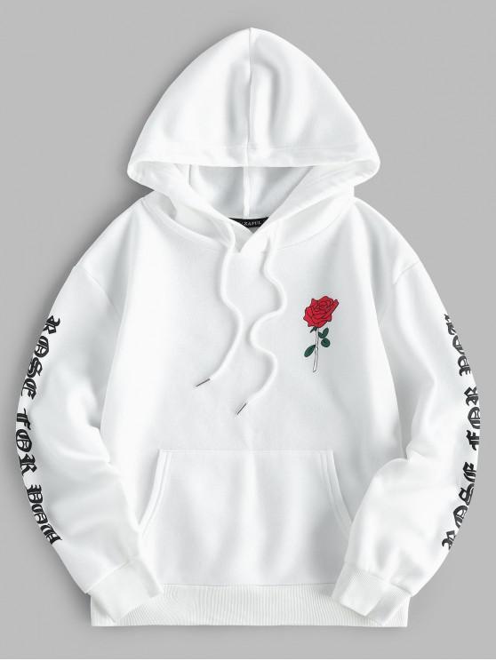 ladies ZAFUL Letter Rose Print Drop Shoulder Front Pocket Hoodie - WHITE S