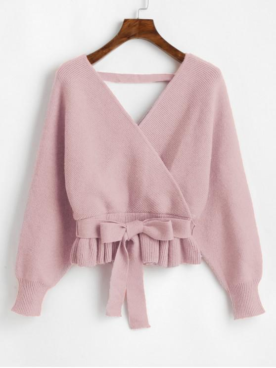 shops Plunging Batwing Sleeve Peplum Belted Sweater - LIPSTICK PINK ONE SIZE