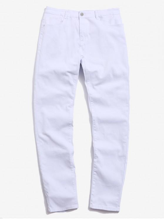 hot Casual Solid Color Zip Fly Design Jeans - WHITE 34