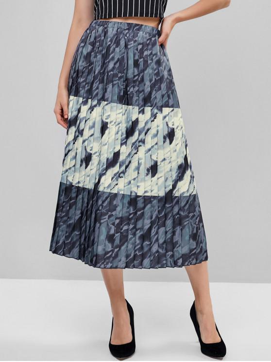 latest ZAFUL Tie Dye Print High Waisted Pleated Skirt - MULTI S
