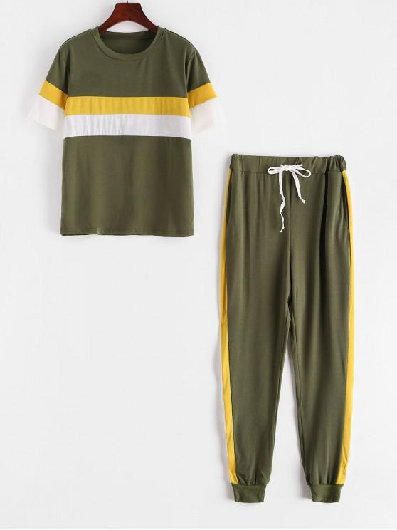 fashion Colorblock Stripes Track Two Piece Set - ARMY GREEN S
