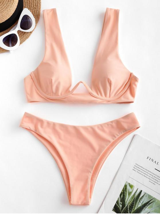 ZAFUL Ferretto Tie posteriore di alta Leg Bikini Swimsuit - Rosa L