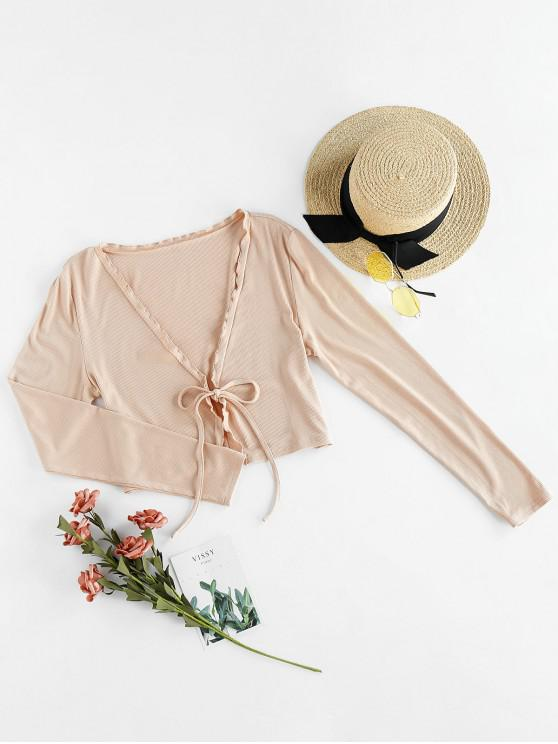 online ZAFUL Ribbed Tie Lettuce Plunge Crop Tee - APRICOT XL