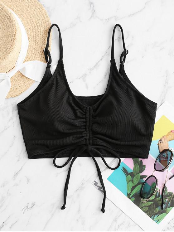 chic ZAFUL Cinched Ribbed Cropped Bikini Top - BLACK S