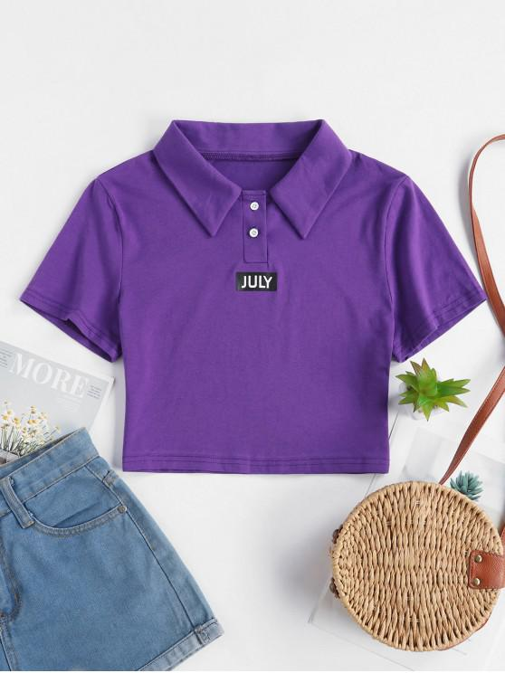 latest Two Buttoned Cropped JULY Graphic Tee - PURPLE L