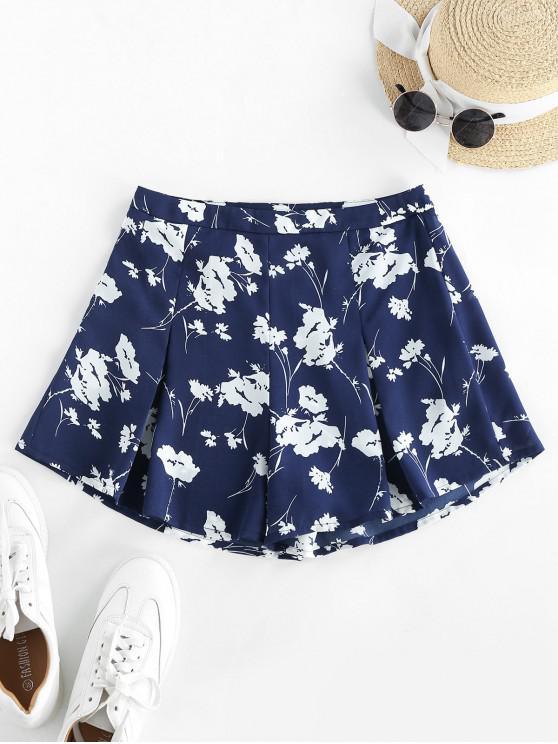 ZAFUL Shorts de Pierna Ancha con Cintura Alta de Flores - Azul de Medianoche S