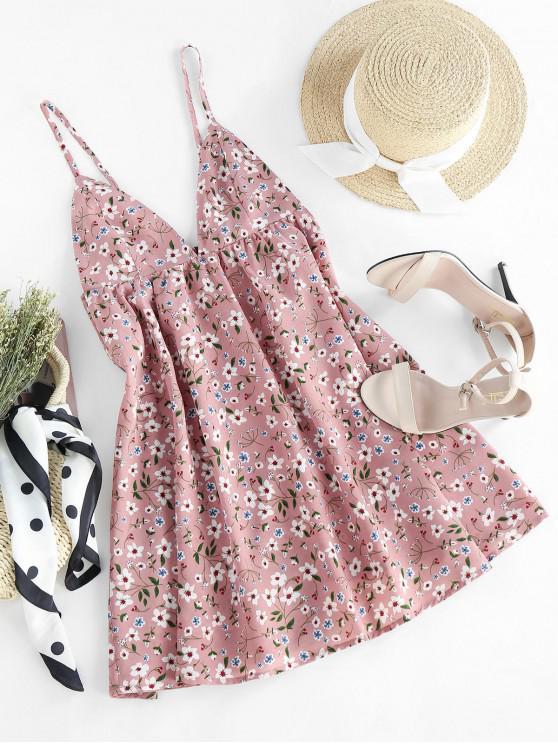 hot ZAFUL Ditsy Print Cupped Open Back Mini Dress - ROSE S
