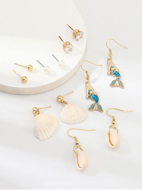 fashion 6Pairs Mermaid Shell Earrings Set - GOLD