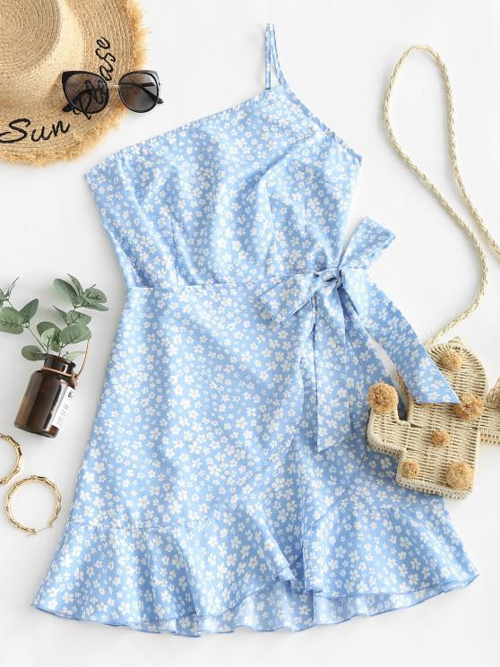 lady ZAFUL Ditsy Print One Shoulder Overlap Flounce Hem Dress - BLUE S