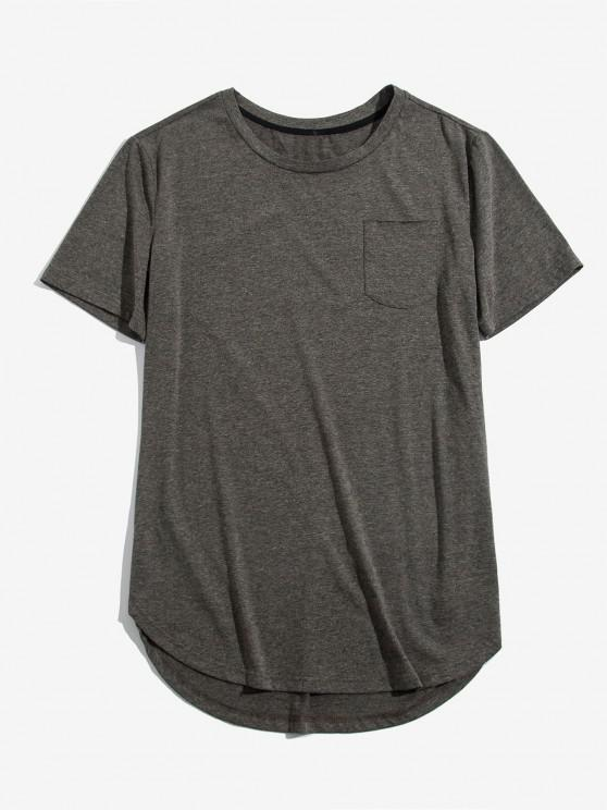 ZAFUL Solid Chest Pocket High Low T-shirt - غائم غراي S