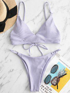 ZAFUL Ring Gerippter Bikini Badebekleidung Mit Hohem Bein - Lavendel Blau S