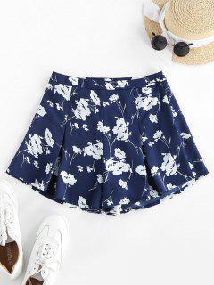 ZAFUL Flower High Waisted Wide Leg Shorts - Midnight Blue M