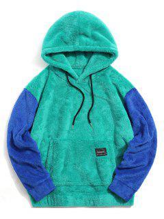 Sweat à Capuche En Blocs De Couleurs Avec Poche - Bleu Vert Ara  Xl