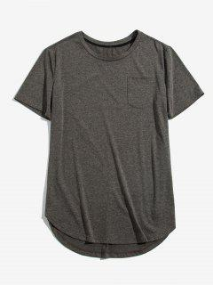 ZAFUL Solid Chest Pocket High Low T-shirt - Cloudy Gray Xl