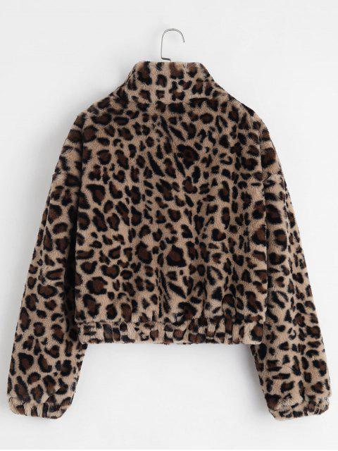 ZAFUL Flauschiger Mantel mit Reißverschluss und Leopardenmuster - Leopard M Mobile