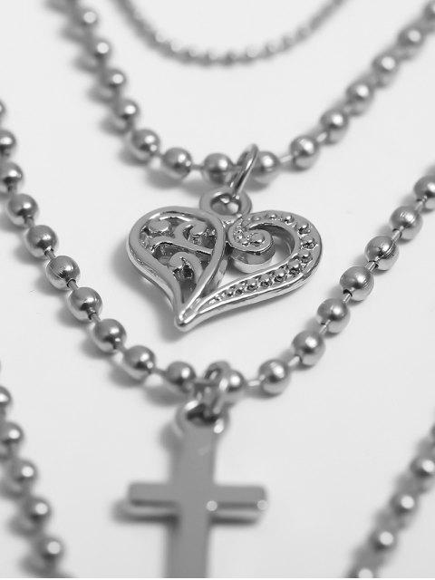 Многослойное Цепное Ожерелье Бисер Сердце Крест - Серебристый  Mobile