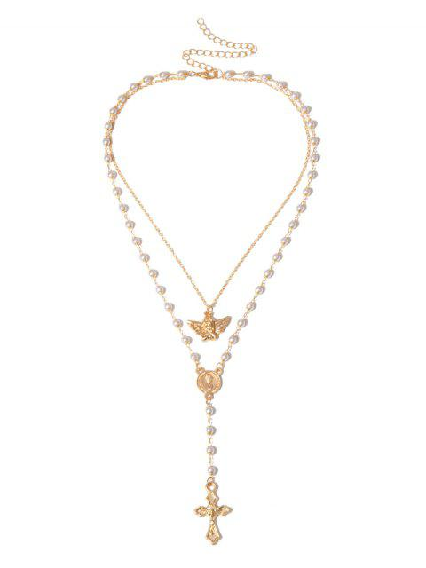 Collier Ange Croix Double Couche avec Fausse Perle - Or  Mobile
