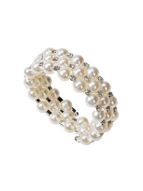 人造珍珠分層伸縮手鐲 - 白色  Mobile