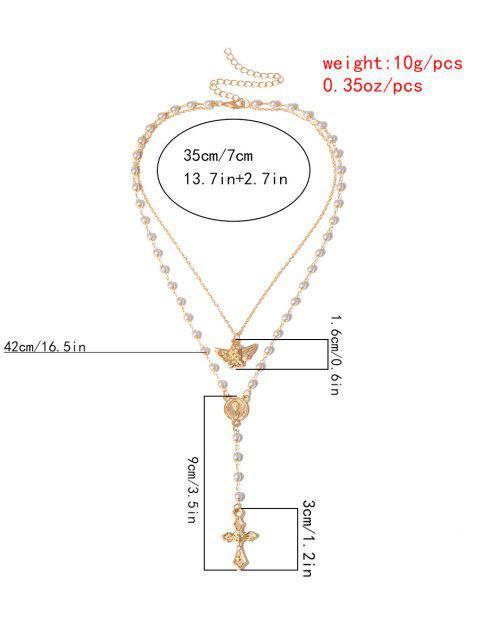 Collier Ange Croix Double Couche avec Fausse Perle - Argent  Mobile