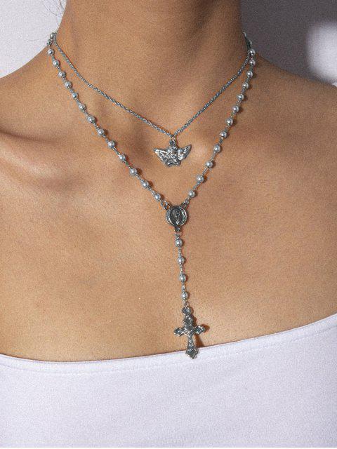 Ангел Двухслойное Ожерелье Искусственный жемчуг - Серебристый  Mobile