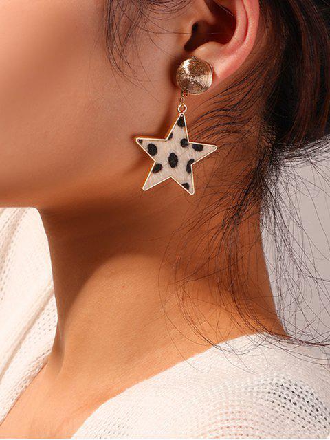 Серьги С леопардовым принтом Форма звезды - Тёплый белый  Mobile