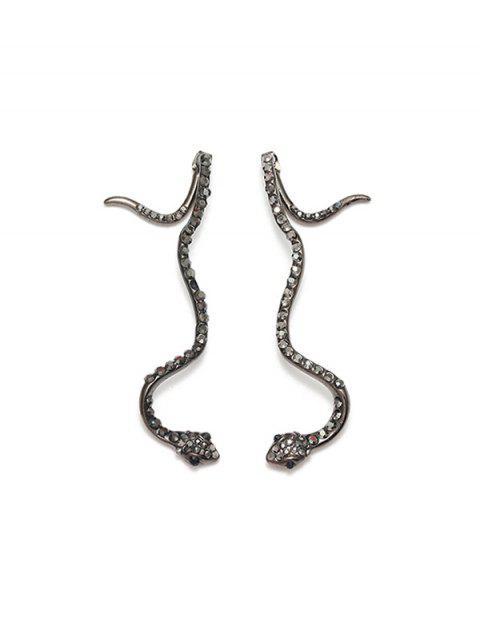 合金水鑽蛇耳環 - 黑色  Mobile