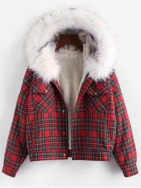 ladies ZAFUL Plaid Faux Fur Hooded Pocket Teddy Jacket - MULTI-D S Mobile