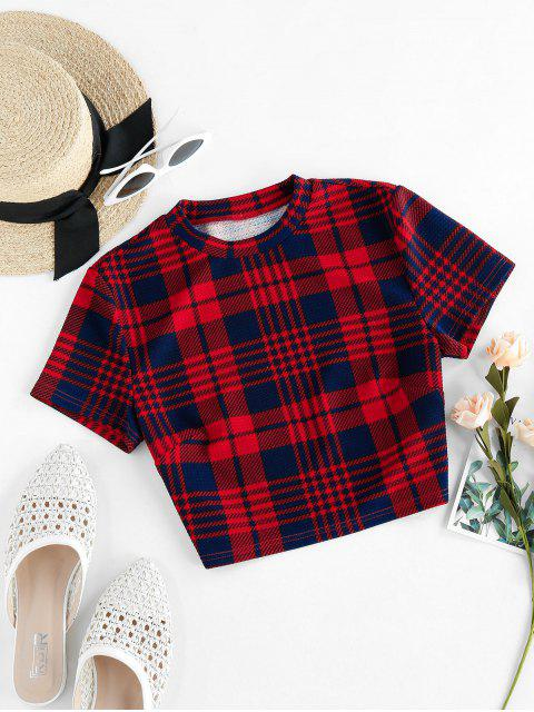 chic ZAFUL Houndstooth Plaid Crew Neck Crop T-shirt - CHERRY RED M Mobile