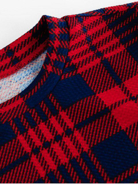 ZAFUL T-shirt CourtCarreaux à Grille à Col Rond - Rouge Cerise XL Mobile