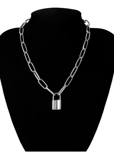 lady Punk Style Lock Pendant Necklace - SILVER  Mobile