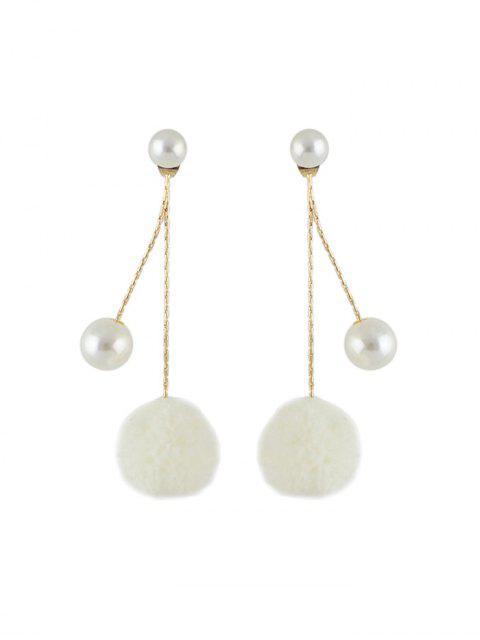 人造珍珠球模糊耳環 - 白色  Mobile